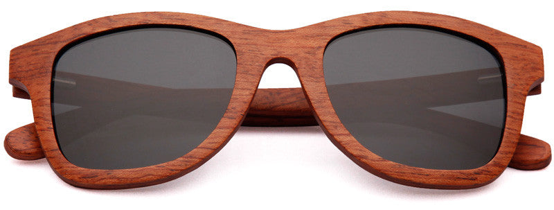 Wood Worn Storm Wayfarer Wooden Sunglasses in Red Rosewood with dark grey lenses
