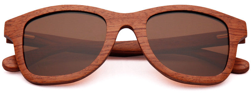 Wood Worn Storm Wayfarer Wooden Sunglasses in Red Rosewood with brown lenses