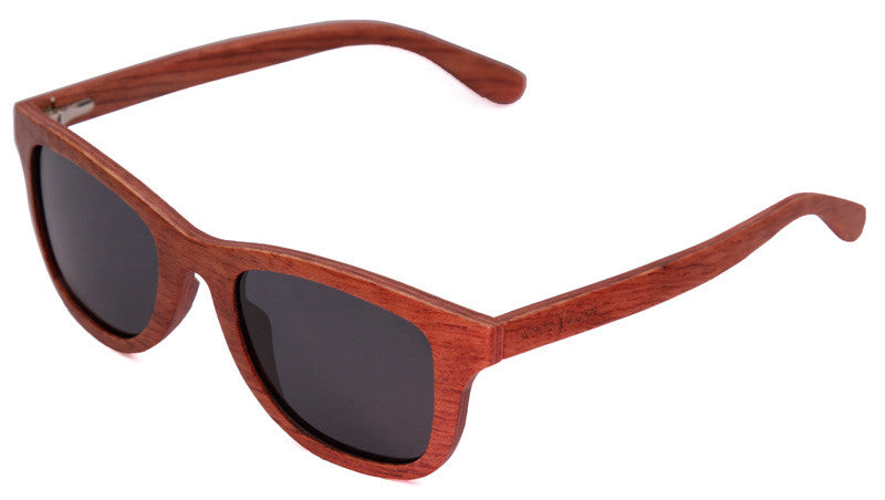 Wood Worn Storm Wayfarer wooden sunglasses in rosewood with grey lenses isometric view