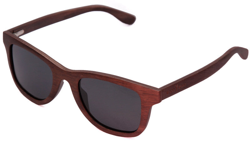 Wood Worn Storm Wayfarer wooden sunglasses in walnut with dark grey lenses isometric view