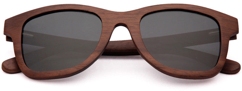 Wood Worn Storm Wayfarer Wooden Sunglasses in Black Walnut with dark grey lenses