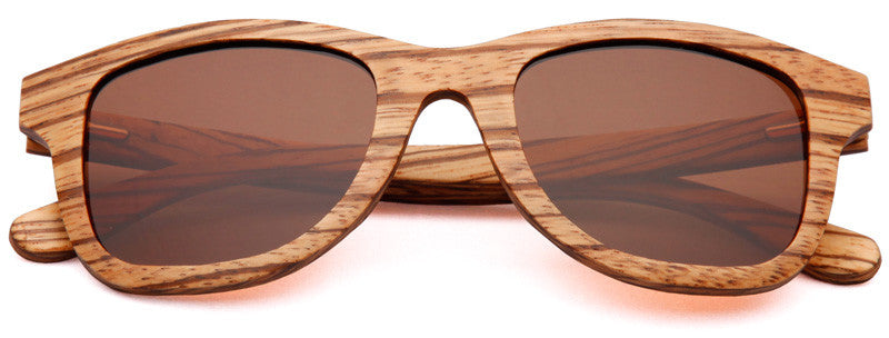 Wood Worn Storm Wayfarer Wooden Sunglasses in Zebrawood with brown lenses