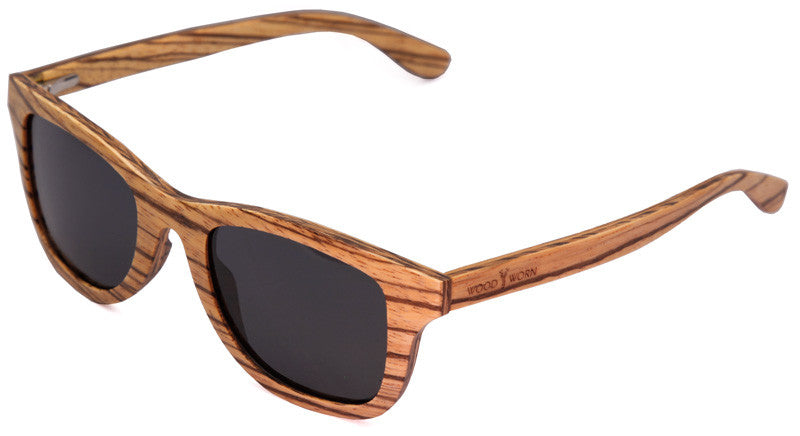 Wood Worn Storm Wayfarer wooden sunglasses in zebrawood with grey lenses isometric view