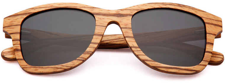 Wood Worn Storm Wayfarer Wooden Sunglasses in Zebrawood with dark grey lenses