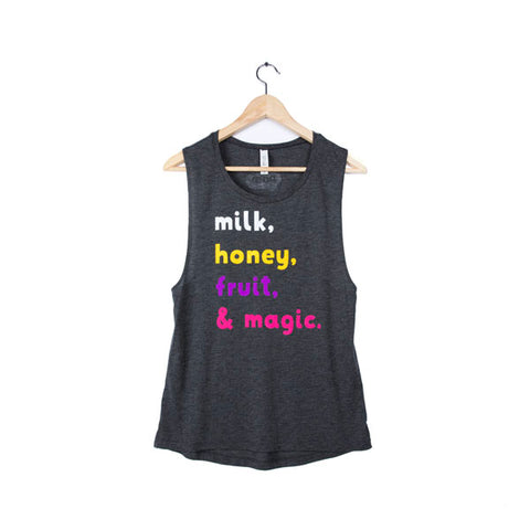 milk, honey, fruit & magic  - women's tank