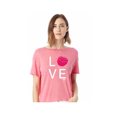 Raspberry LOVE short sleeve burnout tee with back strap