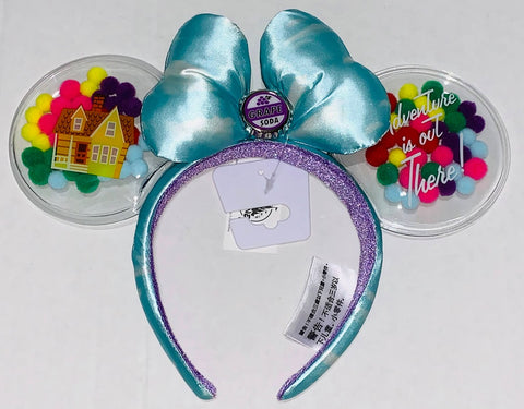 Adventure is Out There Up Balloon House Minnie Mouse Ears Headband with Bow