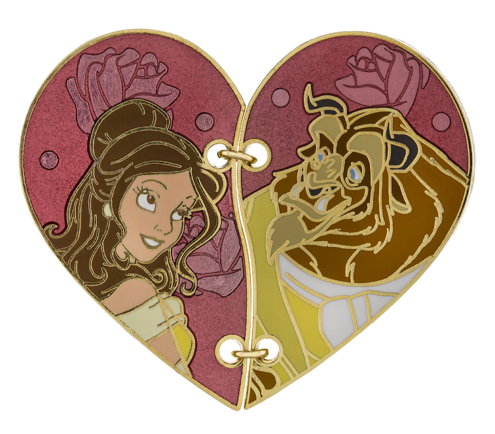 Belle & Beast Beauty and the Beast Stitched Heart Disney Pin