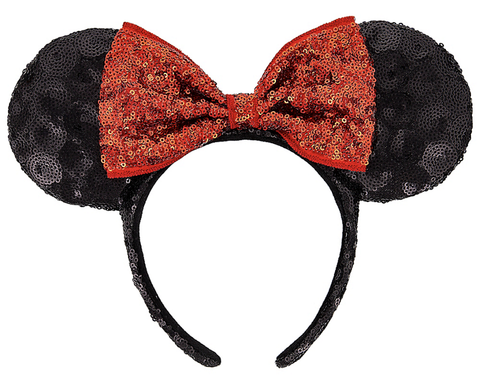 Minnie Mouse Ears Headband with Red Bow