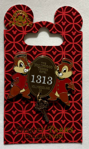 Chip & Dale Hollywood Tower Hotel Key Disney Pin