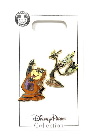 Cogsworth and Lumiere Beauty and the Beast Disney Pin Set