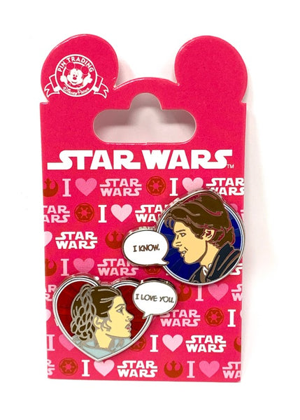 Princess Leia and Han Solo I Love You I Know Disney Pin Set