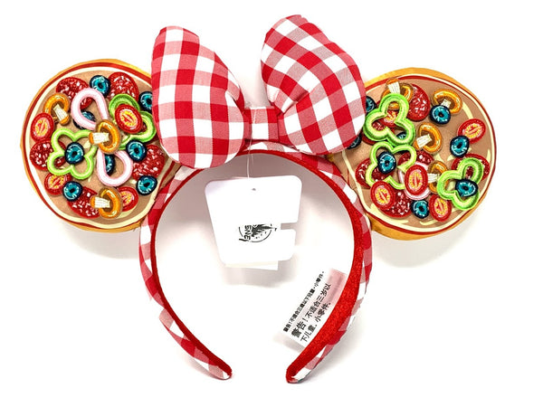 Epcot Italian Pavilion Pizza Minnie Mouse Ears Headband with Bow