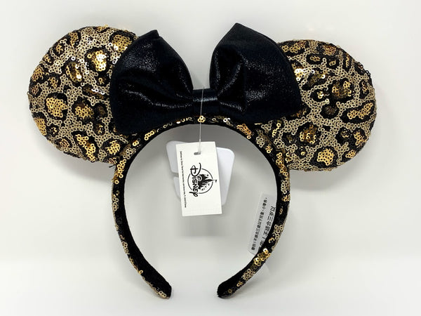 Leopard Print Minnie Mouse Ears Headband with Bow