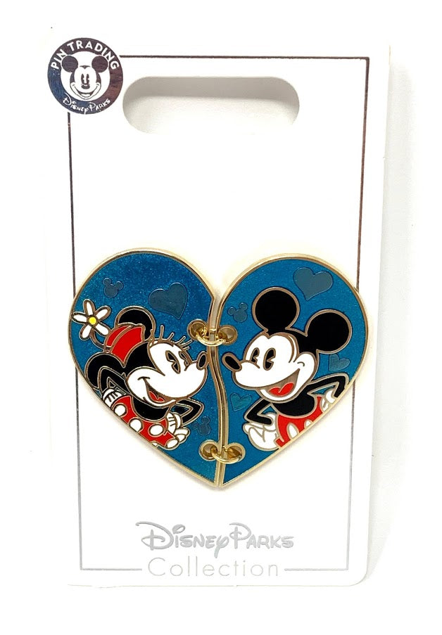 Mickey and Minnie Stitched Heart Disney Pin