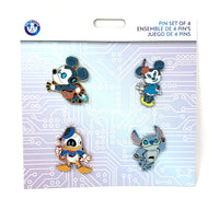 Mickey Minnie Donald and Stitch as Robots Booster Disney Pin Set