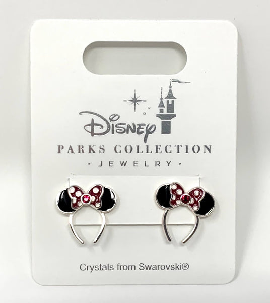 Minnie Mouse Ears Headband Post Earrings with Swarovski Crystals Disney Parks Collection