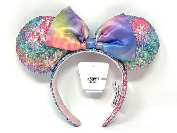 Pastel Rainbow Minnie Mouse Ears Headband with Bow