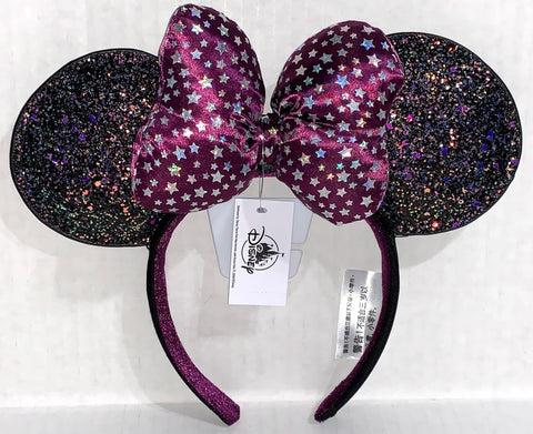 Purple Glitter Celestial Minnie Mouse Ears Headband with Bow