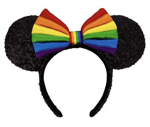 Rainbow Pride Minnie Mouse Ears Headband with Bow