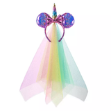 Rainbow Unicorn Minnie Mouse Ears Headband with Veil