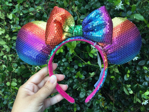Rainbow Minnie Mouse Ears Headband with Bow