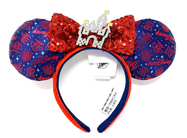 runDisney 2021 Cinderella Castle Minnie Mouse Ears Headband with Bow