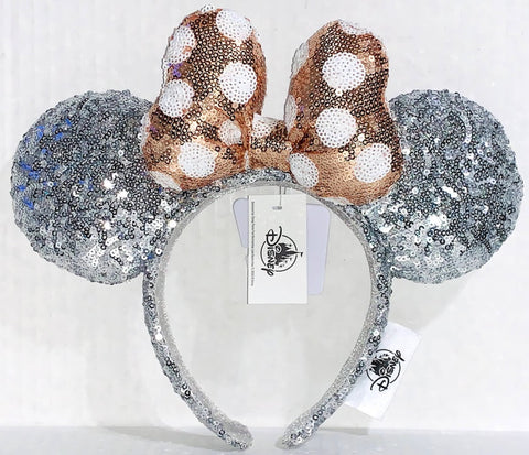 Silver Sequined Minnie Mouse Ears Headband with Gold Bow