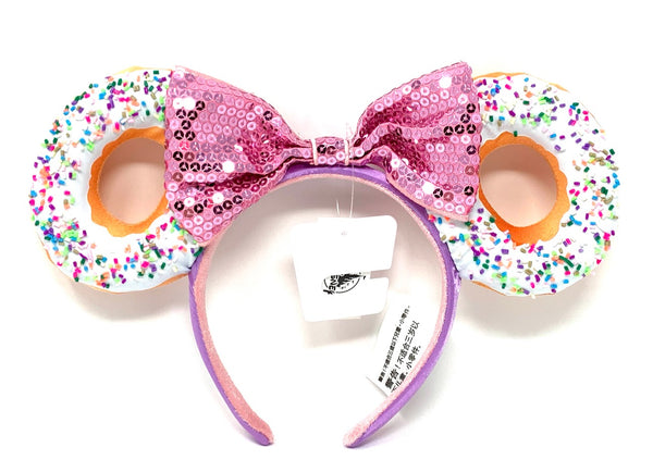 Sprinkle Donut Minnie Mouse Ears Headband with Bow