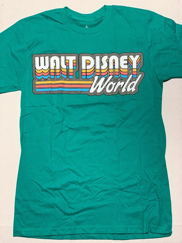 Teal Retro Walt Disney World Logo T-Shirt Size Medium