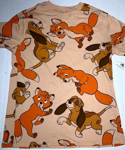 Tod and Copper The Fox and the Hound All Over Print T-Shirt Size Medium