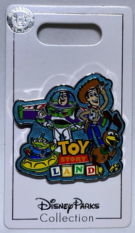 Buzz Woody Alien and Slinky Dog Toy Story Land Logo Disney Pin