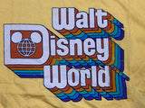 Yellow Retro Walt Disney World Logo T-Shirt Size Medium