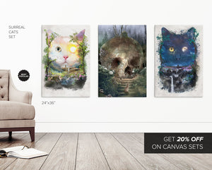Surreal Cats Series 3 Canvas Set - Save 20%