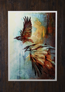 Crows in Flight Abstract Art - Archival Prints