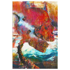 Smoke Skull Canvas Wrap - Barrett Biggers Artist