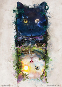 Night and Day Cats - Limited Edition Archival Giclèe Print - Barrett Biggers Artist