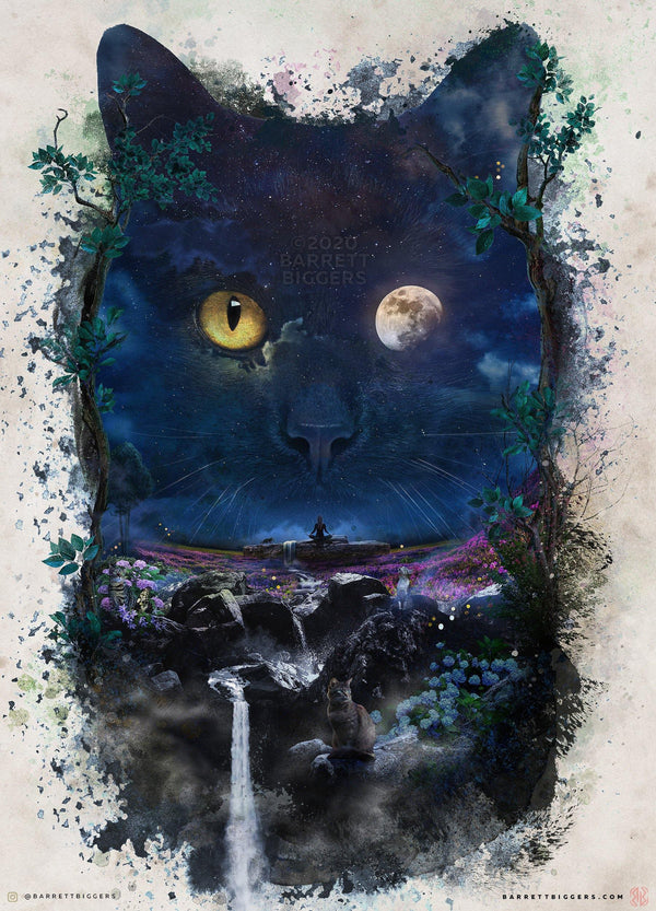 The Night Cat - Archival Prints and Canvas Options - Barrett Biggers Artist