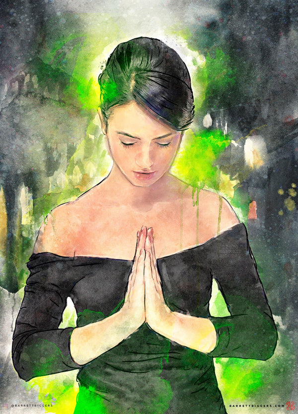 Colorful Prayer Watercolor Painting - Archival Prints and Canvas