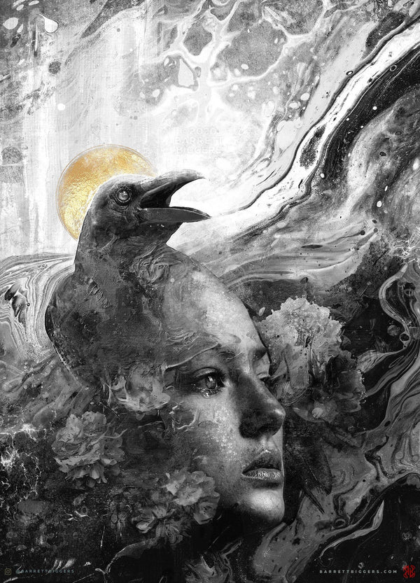 Raven Memories BW Variant Art - Archival Prints and Canvas
