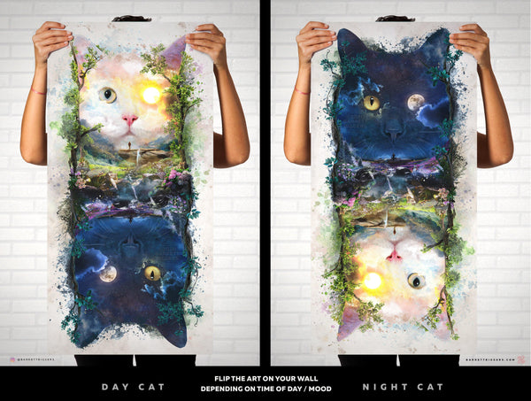 Night and Day Cats - Limited Edition Archival Giclèe Print