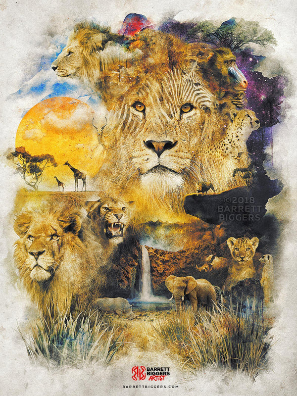 Lion and the Circle of Life  - Archival Prints and Canvas Options