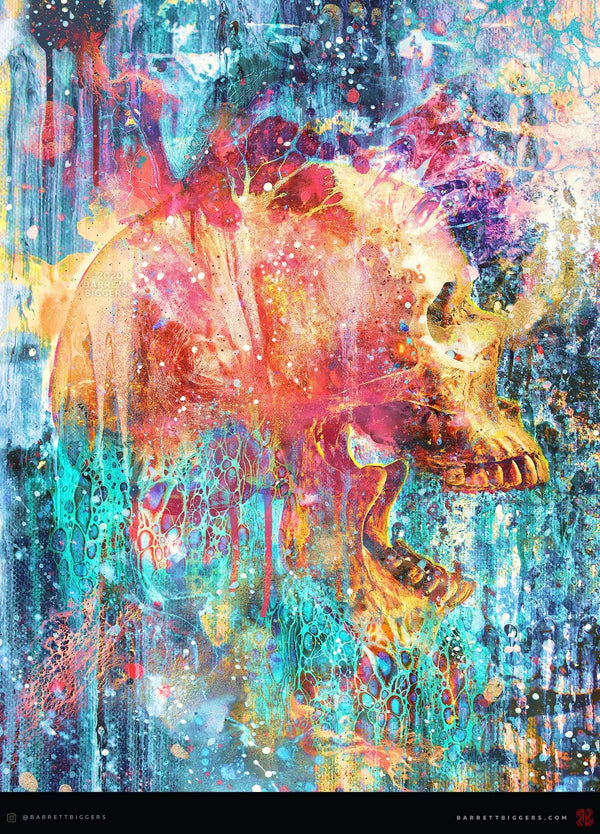 Splatter Skull Abstract Pop Art - Archival Prints and Canvas