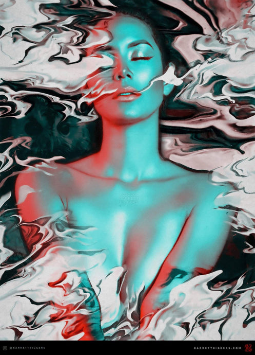 Smoking Lady Flow Abstract Art - Archival Prints and Canvas