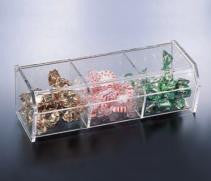 Lucite 3 Compartment Box w/ Hinged Cover