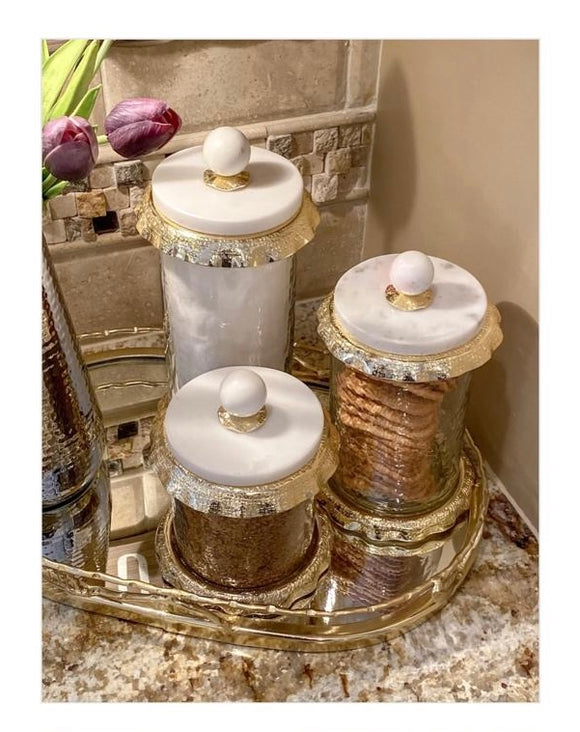 Canister Sets With Marble And Gold Lid