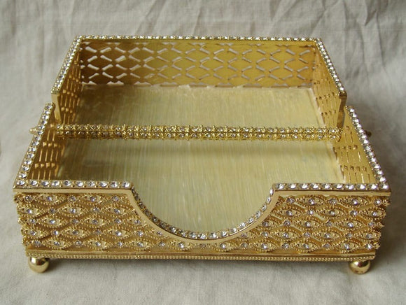 Dinner Napkin Holder with Removable Bar Gold