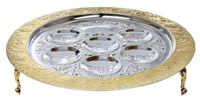 Seder Plate Filigree With Gold And silver Plating