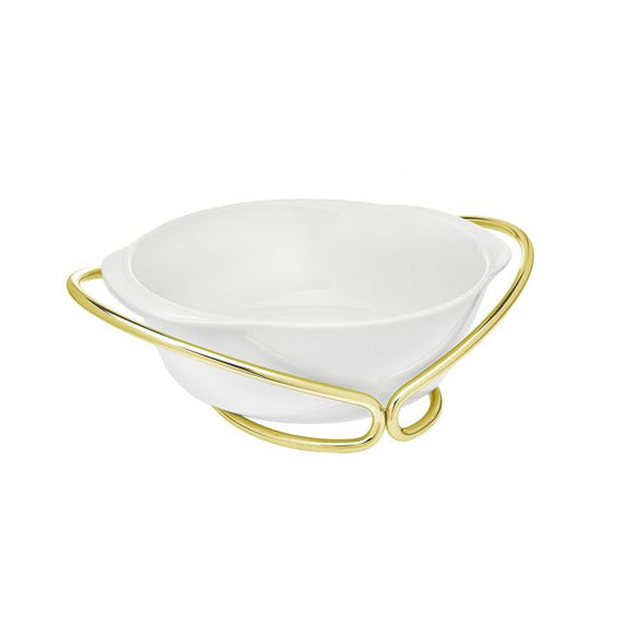 Infinity Gold Porcelain Round Bowl With Holder