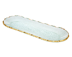 Harper Oval Glass Serving Tray With Gold Edge